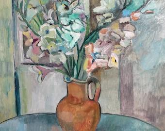 Vintage oil painting impressionist still life signed