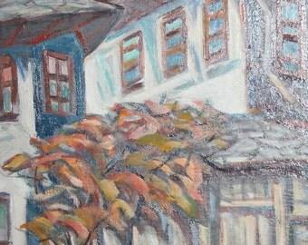 Vintage impressionist oil painting landscape rural house signed