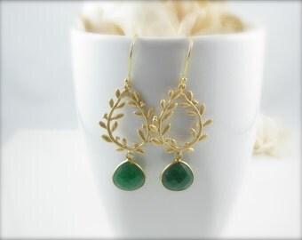 Dyed Emerald Green Gemstone Earrings Jewelry Gold Vermeil over Sterling silver Bezel Rims