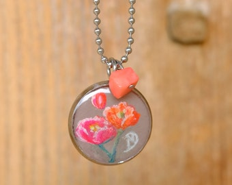 Poppies poppy, necklace handpainted in stainless steel and coral