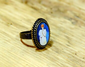 Oval Ring bronze adjustable nymph, 15 mm x 20 mm, blue