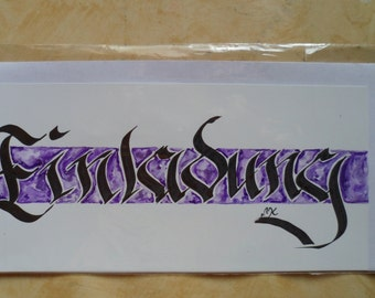 """Card invitation """"calligraphy hand painted"""