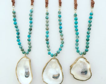 Turquiose and leather oyster shell necklace
