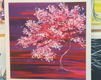 Set of 5 greeting cards: pink blossom tree