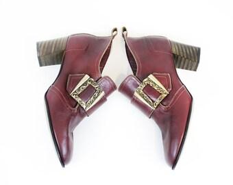 Vintage 60s/70s Burgundy Leather Oxford Heels size 7