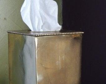 ON SALE Vintage Brass TISSUE Kleenex Box Dispenser Hollywood Regency Bathroom Vanity Decor