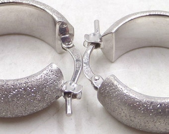 Sterling Silver Vintage  Sterling Silver, Diamond-Cut Hoop Earrings