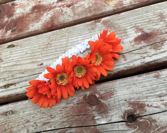 Orange Daisy Flower Headband  - size 6months and up