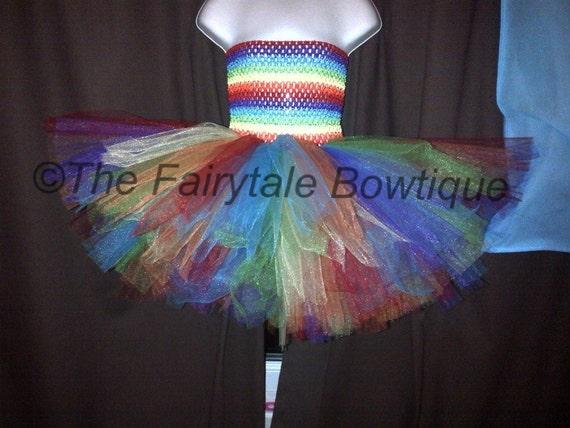 Rainbow Tutu Dress, Unique and Handmade. Made To Order.