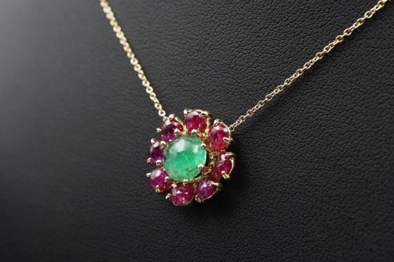 """Custom 14k Yellow Gold Floral Emerald Pink Sapphire Pendant Necklace 16"""" NG224"""