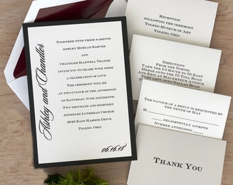 Love by Design II Wedding Invitation Suite- Thermography Invitation Set - Classic Invite Kit - AV330/AV1346