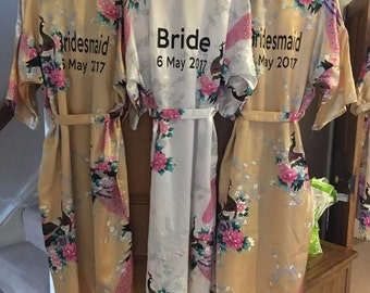 Bride / Bridesmaid / Flower Girl / Named Personalised Dressing Gown Kimono