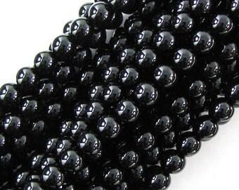 "10mm black onyx round beads 14.5"" strand 19826"