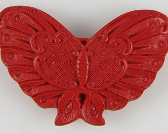 60mm red cinnabar carved butterfly pendant bead