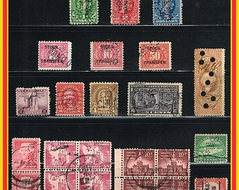 US Perfins Postage Stamps - 23 Vintage Perforated Stamps