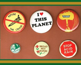 6 Original Protest Pinback Buttons