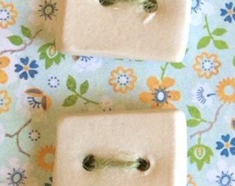 4 cream white square buttons / Cream white square buttons