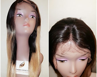 New 2016 Ombre Blonde And Brown Silky Straight Virgin Peruvian Lacefront with Dark Roots