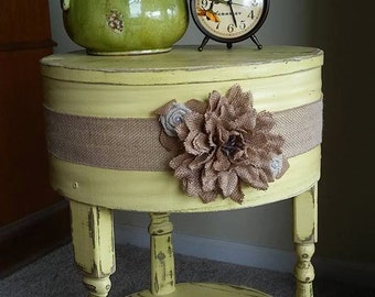 Yellow Shabby Chic accent, end table, round or oval