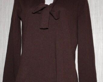 Vintage MAX MARA ITALY 30% Cashmere 70 Wool Blend Brown Neck Tie Women Sweater Size :Medium
