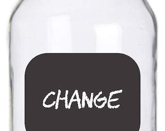 Mason Jar Chalkboard Labels - 14 Rounded Rectangle Labels