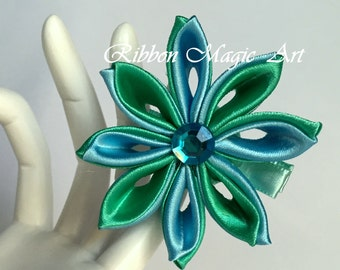 Girls Hair Clips, Hair Accessories, Kanzashi style flowers, Blue and Green