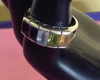 Multi gemstone sterling ring