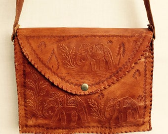 Handmade leather elephant bag
