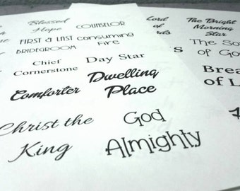 Names of the Lord - bible journaling, black and white, 2 pages, PDF, 28 names,