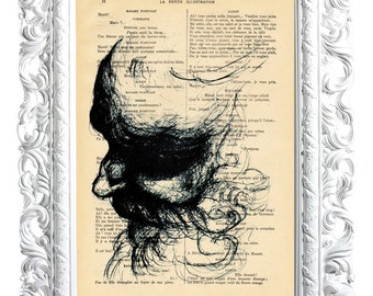 Face with beard. Print on French publication of illustration. 28x19cm.