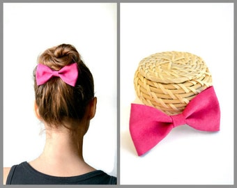 Fuchsia leather hair bow / Pink leather hair bow / Baby bow clip / Hair accessories / Pink leather