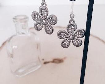 Antique silver flower earrings