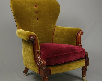 William the IV Walnut Armchair fully restored and reupholstered