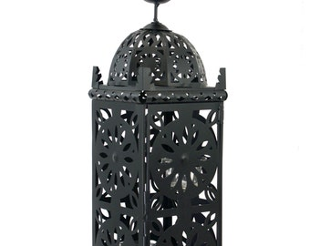 21in. Large Metal European-style Hanging Candle Lantern with 2 Clear Glass Votive Cups
