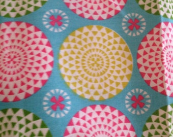 Turquoise with Pink & Lime Green Canvas Print