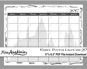Printable Harry Potter Calendar 2017