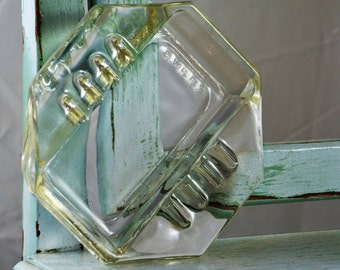 Safex ashtray, Art Deco,clear glass, Rare ashtray, safex art deco,ashtray, vintage ashtray,Retro Ashtrays