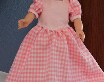 Pink and white gingham long dress