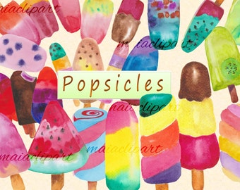 watercolor Popsicles Clipart, ice cream watercolor,COMMERCIAL USE, popsicles watercolor,birthday invitation, nursery,scrapbooking