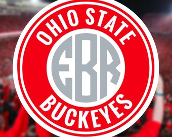 Ohio State Buckeyes Monogram Frame Cutting Files in Svg, Eps, Dxf, Png for Cricut & Silhouette | OSU Vector | Buckeyes Graphics