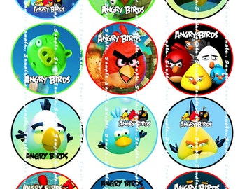 ANGRY BIRDS:  Edible Image CupCake Toppers
