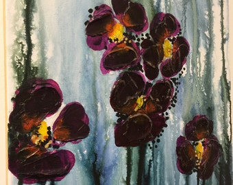 Original Abstract Floral Gouache/Acrylic Painting