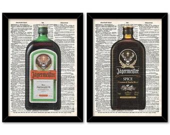 Liquor Bottle Art, Jagermeister Print, Liquor Art Print set, Man cave Liquor Prints, Pool room Prints, Gift for Husband, Liquor print set