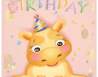 Personalised Printable  Baby Girls Birthday Card