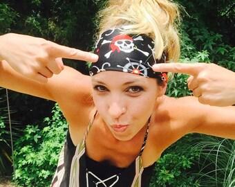 Pirate Headbands, Nautical Pirate Headbands, Red Bandana Headbands, Ships, Pirates, Anchors, Black Headbands