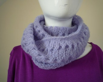 Hand knit pale blue alpaca and silk lace cowl