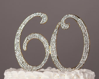 60 Cake Topper - 60th Birthday or Anniversary Decoration - Gold Rhinestone Metal Number - Party Supplies and Ideas