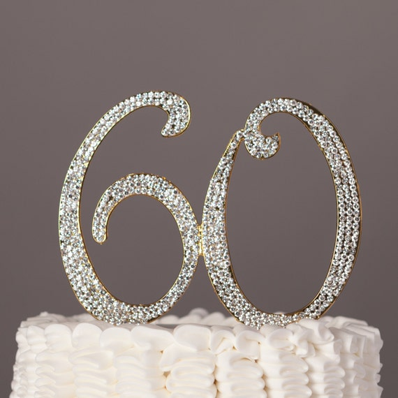 60th wedding anniversary cake toppers 60 cake topper 60th birthday or anniversary decoration 1172