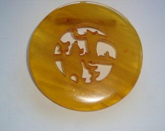 Vintage Apple Juice Transparent Bakelite Brooch / Pin