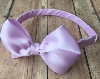 Lavender Satin Bow on Hard Headband, Large Purple Bow, Ribbon Wrapped Headband, Purple Big Girl Bow, Light Purple Headband